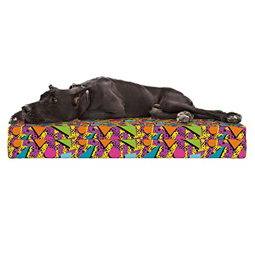 Lunarable Colorful Dog Bed, Vibrant Colored Vintage Memphis Pattern in Eighties Fashion Funky Hipster Art, Durable Washable Mat with Decorative Fabric Cover, 48