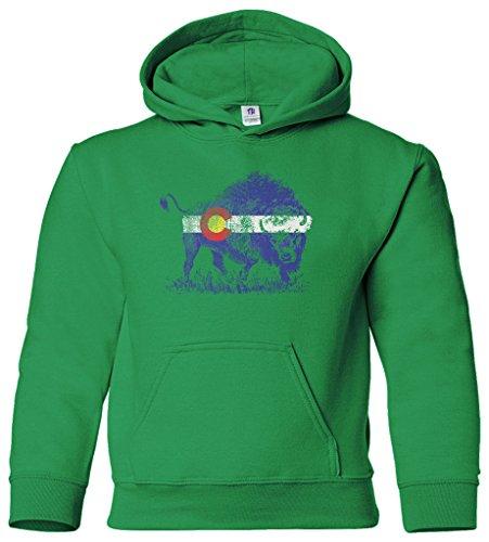 - Threadrock Kids Buffalo Colorado Flag Youth Hoodie Sweatshirt XL Kelly Green
