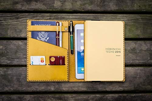 (Leather Hobonichi Cousin/Techo Planner Cover - Yellow)
