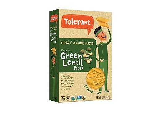 Tolerant – Organic Green Lentil and Pea Pasta, Energy Legume Blend, Penne – 8 Oz (6 Pack)