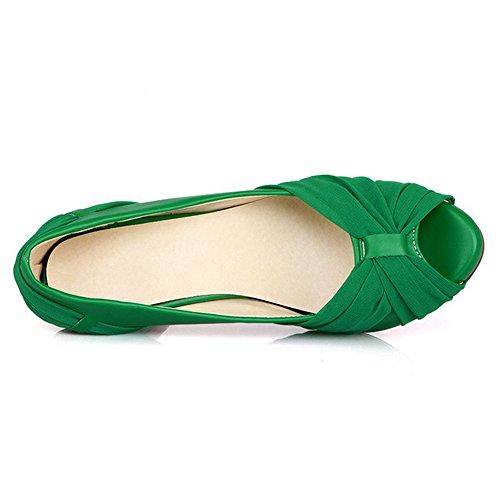 Donna Piattaforma col Scarpe Toe da Verde Stiletto Scarpe Tacco COOLCEPT Peep TnI8x4AT