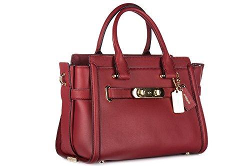femme cuir swagger à main Coach rouge sac en twzq1AUv