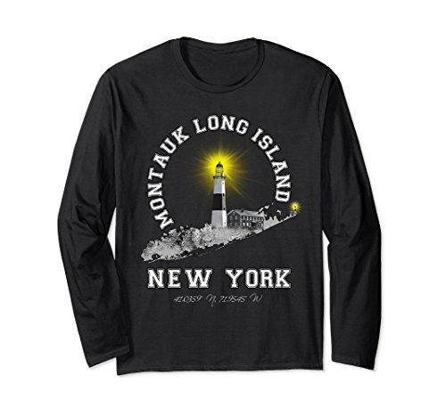 Unisex Montauk Lighthouse Long Island NY Long Sleeve T-Shirt 2XL Black (T-shirt Lighthouse Island)