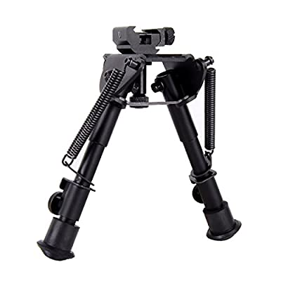 Ohuhu 6-9 Inches Tactical Rifle Bipod with Adjustable Handy Spring Return for Sniper Hunting Shooting | Multi Choice: 360° Revolving, Dual Mounts