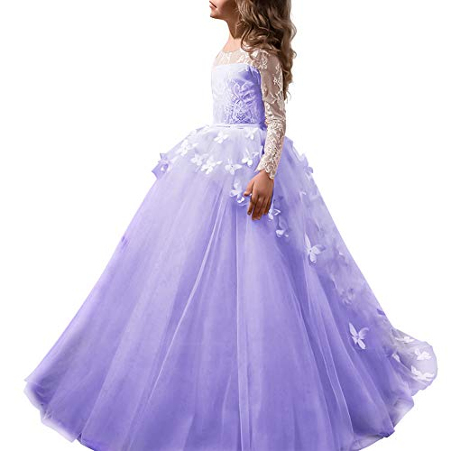IBTOM CASTLE Little Big Girl Full Length Lace Bodice Tulle Ball Gown Flower Communion Dress for Kids Princess Pageant Appliques Dance Costume #F Light Purple Long Sleeve Butterfly 8-9 Years -