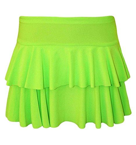 Islander Fashions Womens 2 couches volants RaRa jupe Ladies Party Dance Wear Mini Dguisement jupe S/XL Green