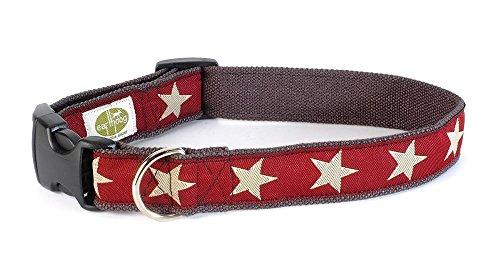 Earthdog Adjustable Hemp Dog Collar in Star Pattern (Red, Small)