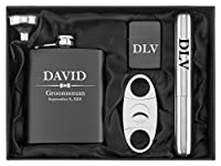 Engraved 7oz Stainless Steel Flask Funnel Cigar Cutter Lighter Wedding Bow Tie Gift Set Custom Personalized