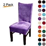 Velvet Stretch Dining Chair Slipcovers - Spandex Plush Short Chair Covers Solid Large Dining Room Chair Protector Home Decor Set of 2, Light Purple
