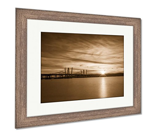 Ashley Framed Prints New And Old Tappan Zee Bridges, Wall Art Home Decoration, Sepia, 26x30 (frame size), Rustic Barn Wood Frame, (Sepia Photo Art)