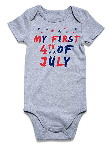 BFUSTYLE My First 4th of July Onesie Baby Boys Girls Unisex Pregnancy Reveal Bodysuit Cotton Summer Red Blue Star One-Piece Jumpsuit Infant Father's Day Romper 3-6 Months ()