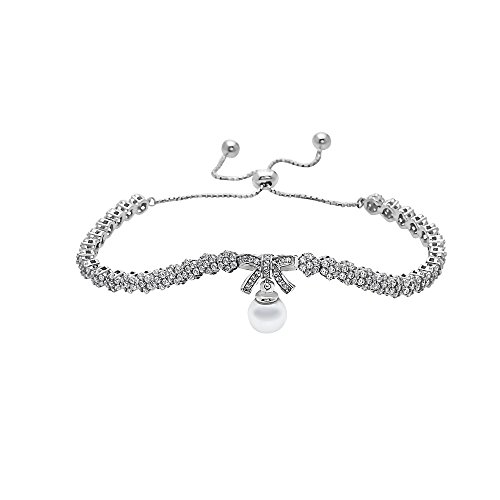 Pori Jewelers .925 Sterling Silver CZ Bow with Pearl Drop Adjustable Bracelet - Strand