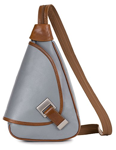 'mila' Of Liatalia - 2in1 - Small Shoulder Bag For Women Lightweight Convertible Backpack Genuine Italian Leather Light Gray - Edge Candy
