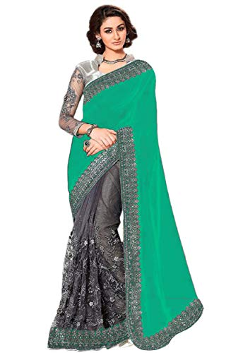 (Nivah Fashion Women's Laycra & Net Embroidery sari with Blouse piec K787 (Turquoise))