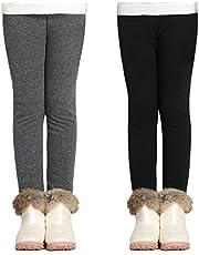 Adorel Meisjes Fleece Leggings Warm Winter Katoen Effen