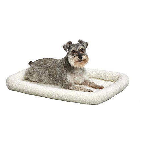 30L-Inch White Fleece Dog Bed or Cat Bed w/ Comfortable Bolster | Ideal for Medium Dog Breeds & Fits a 30-Inch Dog Crate | Easy Maintenance Machine Wash & Dry | 1-Year Warranty