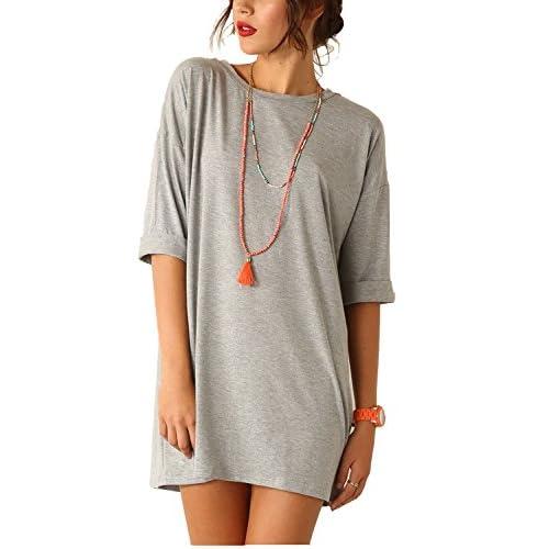 Nice Eliacher Women's Comfy Short Sleeve Casual Loose T-Shirt Dress