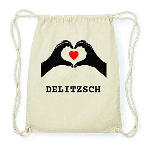 JOllify DELITZSCH Hipster Turnbeutel Tasche Rucksack aus Baumwolle - Farbe: natur Design: Hände Herz I0RslsS