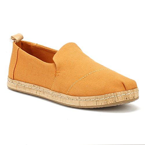 Toms Deconstructed Women's Alpargata High Shoe Saffron Ankle Chambray Canvas Flat rOr7qZw