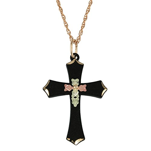 Black Passion Cross Pendant Necklace, 10k Yellow Gold, 12k Green-Rose Gold Black Hills Gold, 18'' by The Men's Jewelry Store (for HER)
