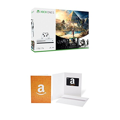 Xbox One S 1Tb Console   Assassins Creed Origins Bonus Bundle    25 Amazon Com Gift Card