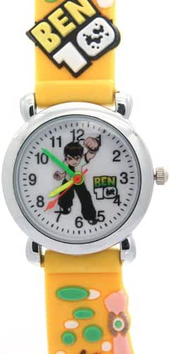 Timernall Cartoon Ben10 Round Case Quartz Yellow Kids Watches