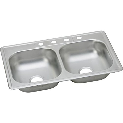 23 Gauge Stainless Steel 33'' X 22'' X 6.0625'' Double Bowl Top Mount Kitchen Sink