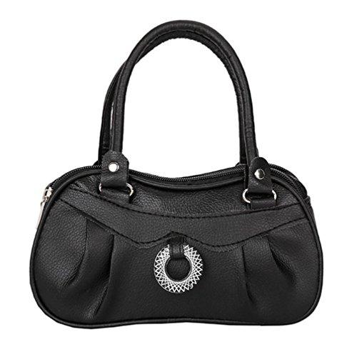 (Clearance! Women Shoulder Bag, Neartime 2018 Fashion Pure color Zipper Handbag Soft Leather Satchel Tote Pleated Purse (❤️ 21cm(L)×6cm(W)×12cm(H), Black) )