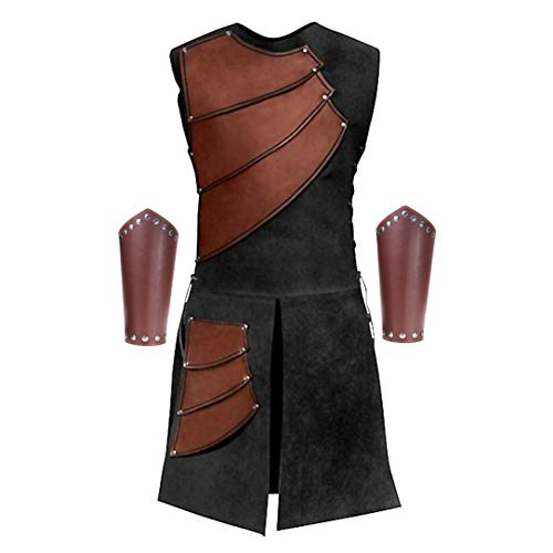 Men's Side Laces up Knight Viking Pirate Armor Long Waistcoats Vests Long Bracer Costume Set Brown]()