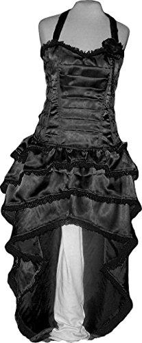 Black Ruffle Satin Corset Rose Bustle Dress Designer Party Bridesmaid Custom Plus Size S/m -