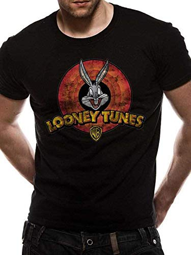 Looney Tunes T-Shirt Nera da Uomo con Logo da Uomo - T-Shirt Girocollo   Amazon.it  Abbigliamento a932883f7434