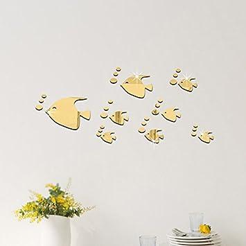 Pegatina pared baño vinilo decorativo acrilico efecto espejo peces ...