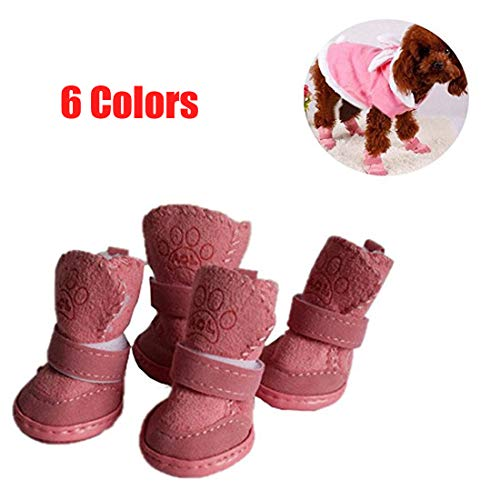 GabeFish Puppy Cute Cozy Warm Anti Slip Winter Boots for Small Medium Dogs Pets Cats Thicken Fleece Snow Shoes Pink X-Large (Cozy Dog Boots)