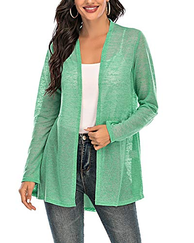 CIZITZZ Womens Casual Long Sleeve Open Front Cardigan Sweater Drape Lightweight Duster High Low Hem,Green,M