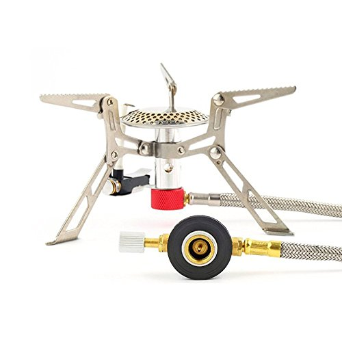 Ultralight Aluminum Alloy Mini Foldable Outdoor Stainless Steel Camping Gas-powered Cooker Stove with Piezo Ignition for - Gas Powered Cooker