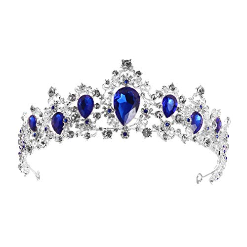 Lurrose Elegant Silver Bridal Crown Rhinestone Princess Tiara for Party Pageant (Blue)