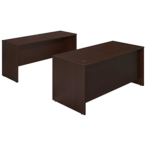Bush Business Furniture Series C Elite 66W x 30D Desk Shell with Credenza in Mocha Cherry by Bush Business Furniture