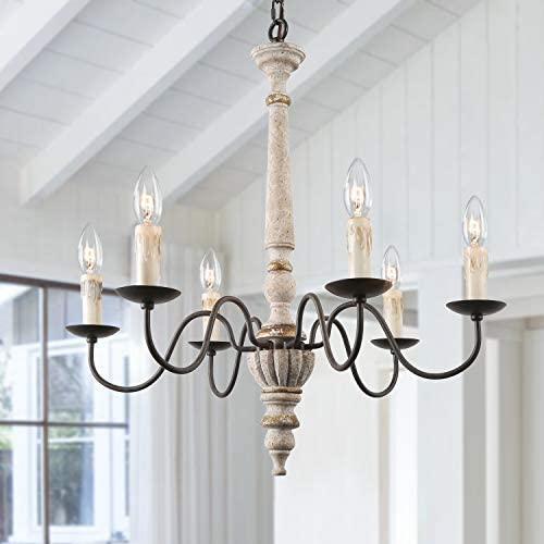LALUZ French Country Chandelier Farmhouse Handmade Wood Rustic 6 Light Fixture