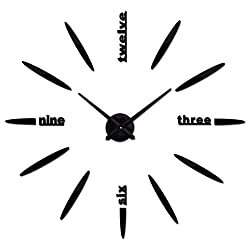 Netmetoo DIY 3D Wall Clock Modern Large Home Decor Sticker Frameless Black Mirror for Office Living Room Bedroom Kitchen Bar Bullet Clock Plate
