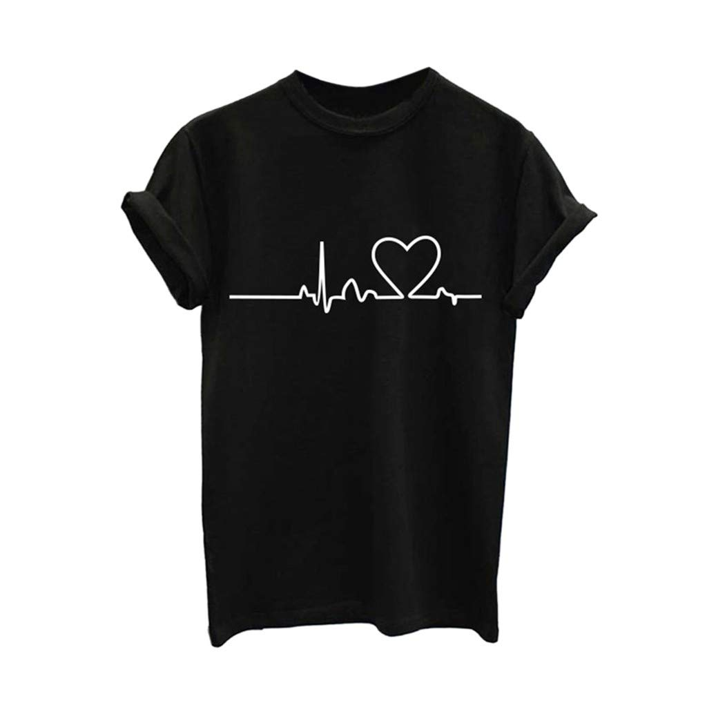 T Shirts Graphic Women,❤️TWinmar Girls Plus Size Print Tees Tops Short Sleeve Funny Loose Blouse Black