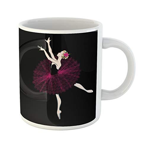 Semtomn Funny Coffee Mug a Free of Ballerina Vector Illustration Ballet Dancer Girl Freehand 11 Oz Ceramic Coffee Mugs Tea Cup Best Gift Or Souvenir ()