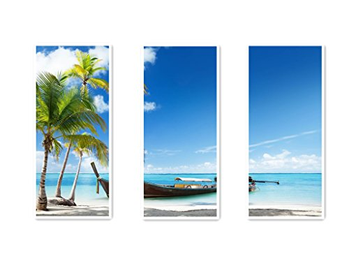 Art Deco Modern Abstract Coconut Sunny Beaches Boats Canvas Print Set Great Home Decals with Stretched and Framed 8x12inchx3pcs