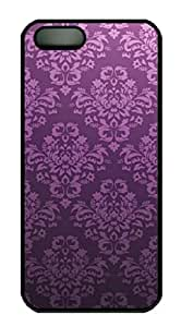 iPhone 5 5S Case, iCustomonline Abstract Purple Wave Protective Back Cover Case for iPhone 5 5S Black