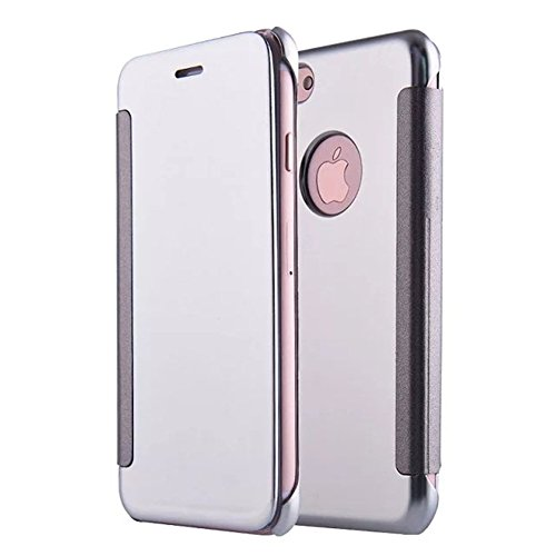 Mode Housse Première Couvercle Protection Plus Bookstyle Rabat Shell 8 de Plus Clear Coque Miroir Brillant de pour View iPhone Cover Shiny Ekakashop avec Smart Coque Bling 7 Qualité iPhone Violet Silver Flip qBwwRxH