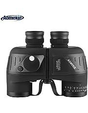 Aomekie 10X50 Fernglas mit Nachtsicht Entfernungsmesser Kompass Militär Marine Ferngläser Feldstecher BAK4 FMC Wasserdicht für Kinder Erwachsene mit Gurt und Tasche
