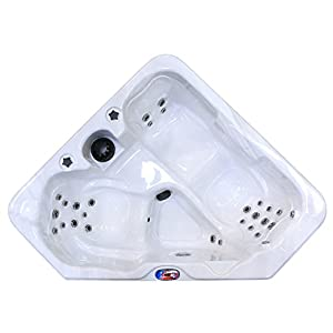 American Spas AM-628TS 2-Person 28-Jet Triangle Spa, Sterling and Smoke