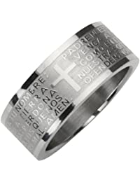 Stainless Steel Spanish Lord's Prayer 8mm Band Ring - Men