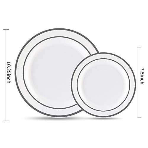 I00000 102 Pieces Silver 51 dinner plates+51 salad plates, White