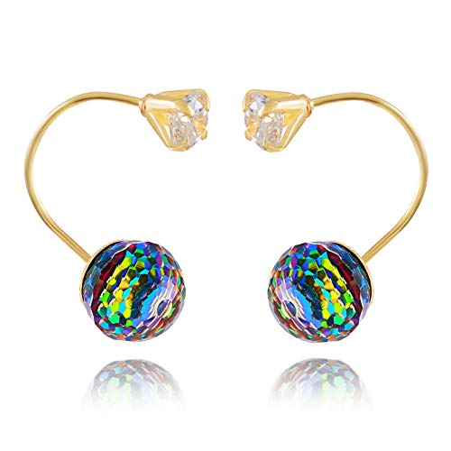 14K Yellow Gold Jacket Stud Earrings for Women and Girls - Hypoallergenic for Sensitive Ears (Disco Ball)