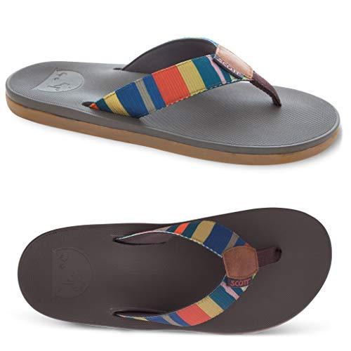 Men's Scott Hawaii Eleu Sandal | Woven Earth Rainbow Strap | No-Slip Custom Grooved Flip Flops | Size 12